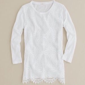 J. Crew Factory White Lace 3/4 Sleeve T-Shirt